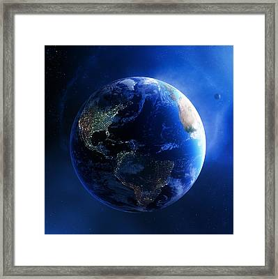 Earth And Galaxy With City Lights Framed Print by Johan Swanepoel