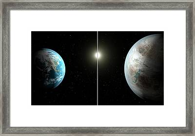 Earth And Kepler-452b Framed Print