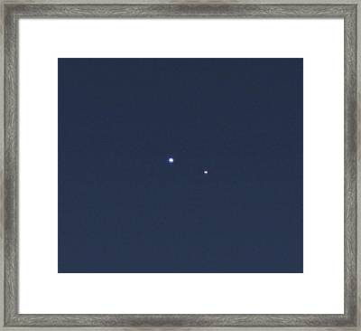 Earth And Moon From Saturn Framed Print
