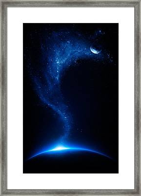 Earth And Moon Interconnected Framed Print by Johan Swanepoel