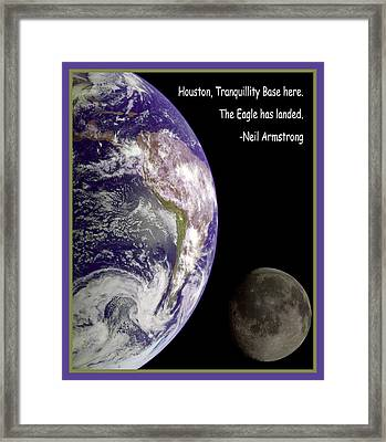 Earth And Moon Neil Armstrong Quote Framed Print by Nasa
