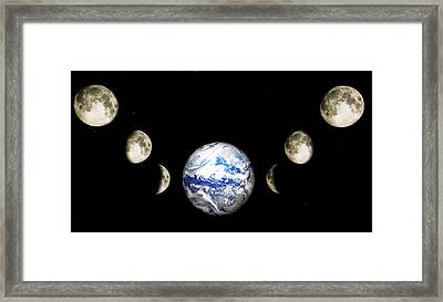 Earth And Phases Of The Moon Framed Print