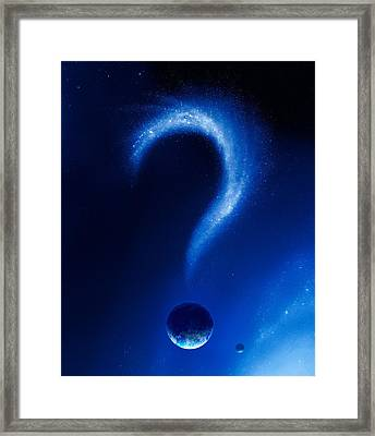 Earth And Question Mark From Stars Framed Print