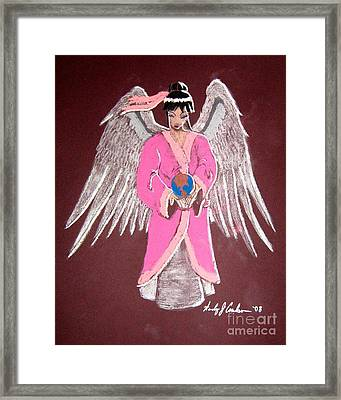 Framed Print featuring the pastel Earth Angel by Wendy Coulson