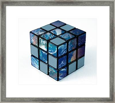 Earth As Rubiks Cube Framed Print by Spencer Sutton