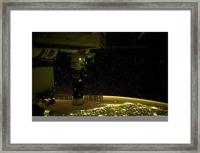 Earth At Night, Iss Image Framed Print by Science Photo Library