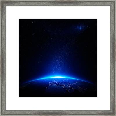 Earth At Night With City Lights Framed Print by Johan Swanepoel