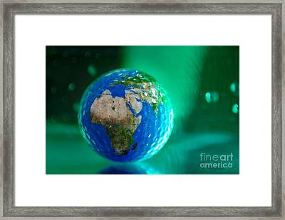 Earth Bathed In Green Energy Framed Print by Amy Cicconi