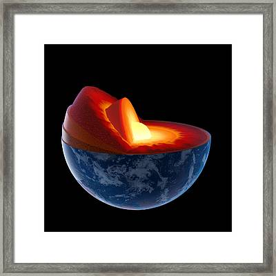 Earth Core Structure - Isolated Framed Print