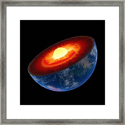 Earth Core Structure To Scale - Isolated Framed Print by Johan Swanepoel