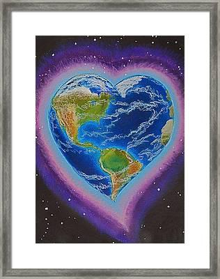 Earth Equals Heart Framed Print by R Neville Johnston