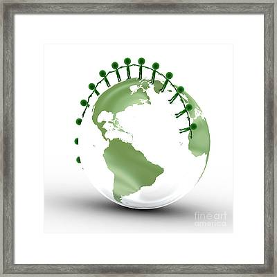 Earth Globe And Conceptual People Together Framed Print by Michal Bednarek