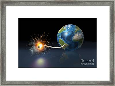Earth Globe With A Fuse Lighted Framed Print by Leonello Calvetti