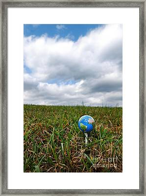 Earth Golf Ball On Tee Framed Print by Amy Cicconi