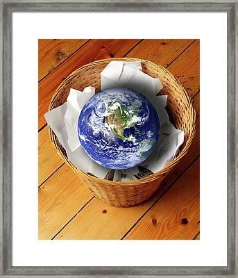 Earth In Bin Framed Print by Victor De Schwanberg