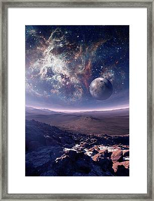 Earth-like Alien Planet And Nebula Framed Print