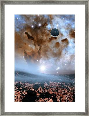 Earth-like Alien Planet And Nebula Framed Print by Nasa, Esa, And The Hubble Heritage Team (stsci/aura)/detlev Van Ravenswaay