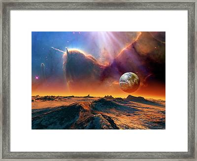 Earth-like Alien Planet And Nebula Framed Print by Nasa/esa And Jeff Hester (arizona State University)//detlev Van Ravenswaay