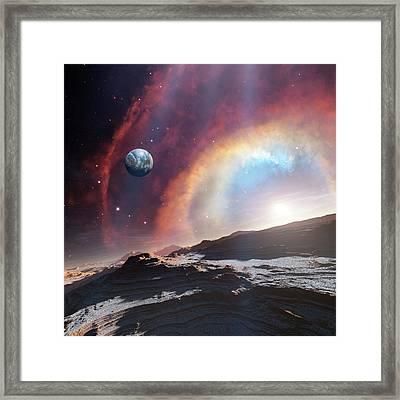 Earth-like Planet And Exploding Star Framed Print