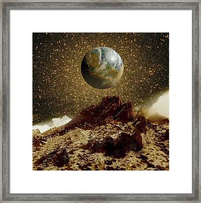 Earth-like Planet And Omega Centauri Framed Print