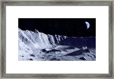Earth Over Moon Framed Print by Mark Garlick/science Photo Library