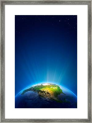 Earth Radiant Light Series - North America Framed Print by Johan Swanepoel