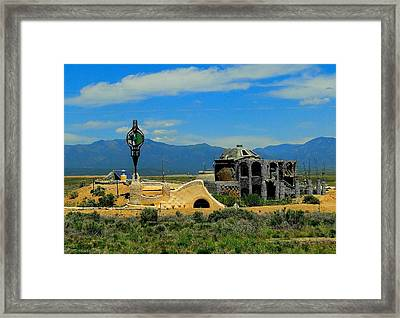 Earth Ships Of New Mexico Framed Print by Cindy Croal