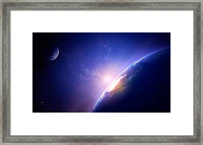 Earth Sunrise In Foggy Space Framed Print by Johan Swanepoel