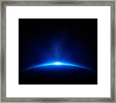 Earth Sunrise In Space Framed Print by Johan Swanepoel