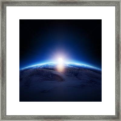 Earth Sunrise Over Cloudy Ocean  Framed Print by Johan Swanepoel