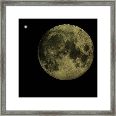 Earths Moon And Venus Framed Print by David Dehner
