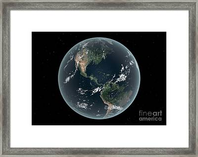 Earths Western Hemisphere With Rise Framed Print