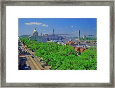 East Bay Street, City Hall And Savannah Framed Print