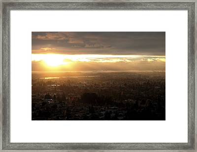East Bay Sunset Framed Print by Lennie Green