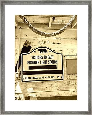 East Brother Light Station Visitor Sign Framed Print