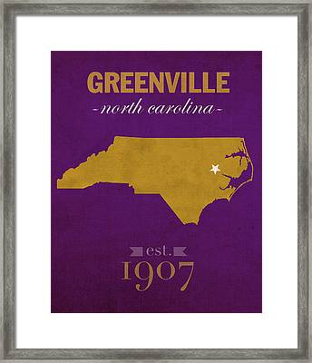 East Carolina University Pirates Greenville Nc College Town State Map Poster Series No 036 Framed Print