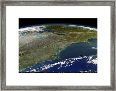East Coast Of The Usa, Satellite Image Framed Print by Science Photo Library