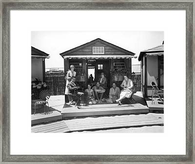 East Coast Seaside Cabana Framed Print by Underwood Archives