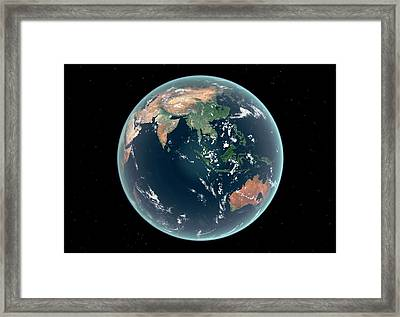 East Hemisphere With Sea Level Rise Framed Print by Walter Myers
