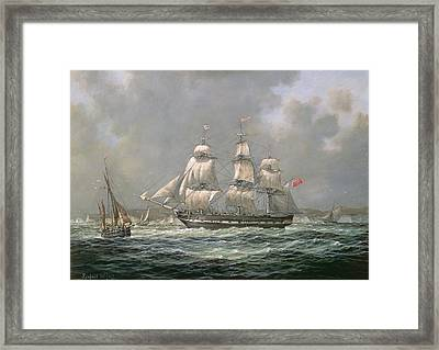 East Indiaman Hcs Thomas Coutts Off The Needles     Isle Of Wight Framed Print by Richard Willis