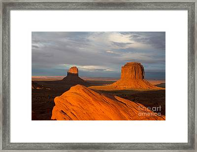 East Mitten And Merrick Buttes Monument Valley  Framed Print by Dan Hartford