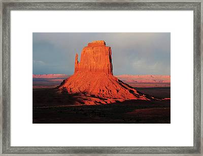 East Mitten At Sunset, Monument Valley Framed Print