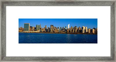 East River And New York Skyline, View Framed Print