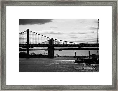 East River New York City Brooklyn Manhattan Bridges Framed Print by Joe Fox