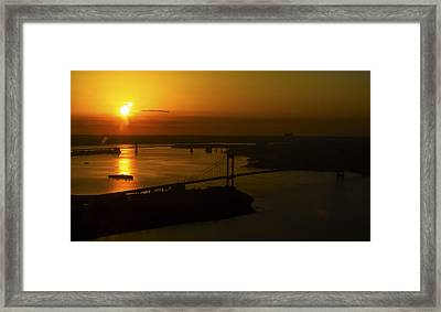 East River Sunrise Framed Print