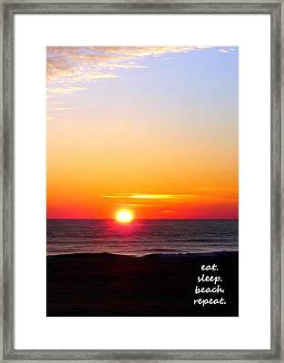 East. Sleep. Beach Sunrise Framed Print