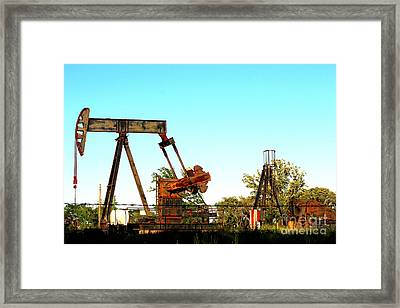 East Texas Oil Field Framed Print by Kathy  White