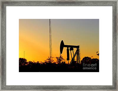 East Texas Pumpjack At Sunset Framed Print by Kathy  White