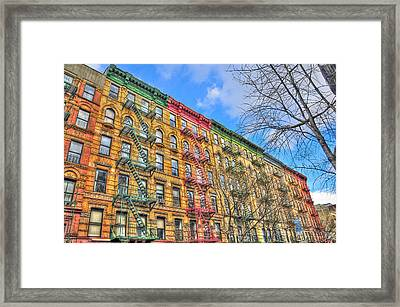 East Village Buildings On East Fourth Street And Bowery Framed Print by Randy Aveille