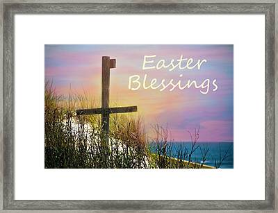 Easter Blessings Cross Framed Print by Sandi OReilly